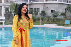 Yellow Wrap Neck Style Kurti with Orna