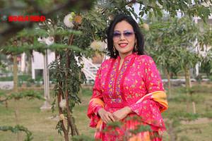 Magenta Floral Printed Cotton Kurti