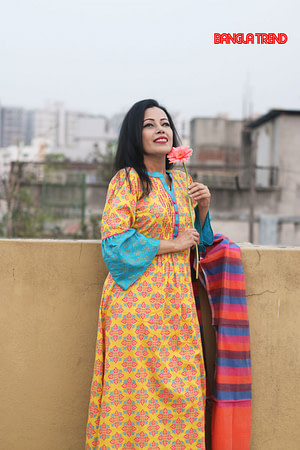 Mustard Yellow Kurti with Half silk Orna
