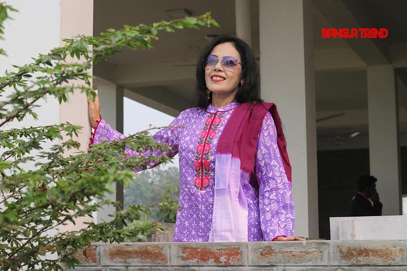 Purple Wax Batik Kurti with Orna